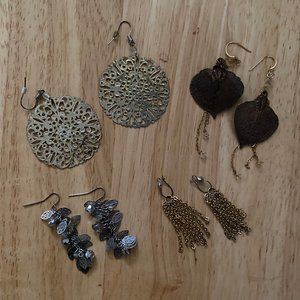 Vintage Earring Lot 4 Pair Dangles